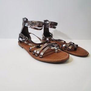 Lane Bryant Silver Metallic Ankle Sandals - 9W